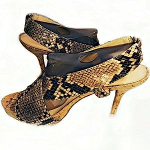 Nine West Snakeskin Pattern Strappy Heels